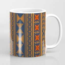Boho Mudcloth (Blue, Gold, Persimmon) Coffee Mug