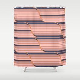 Geo Stripes - Navy & Neutral Shower Curtain