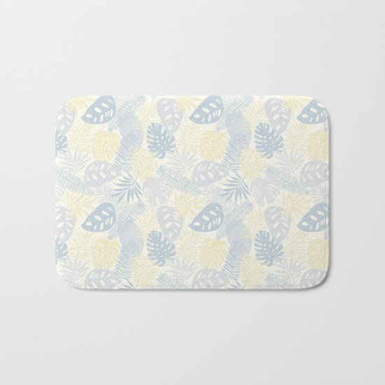 Tropical Leaves Pattern Yellow And Grey Bath Mat