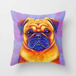 Comic Relief -  Colorful Pug Throw Pillow