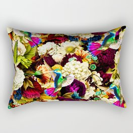 hummingbird paradise ethereal autumn flower pattern std Rectangular Pillow
