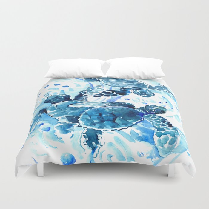 Three Sea Turtles, blue bathroom turtle artwork, Underwater Duvet Cover