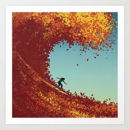 Surfing in Autumn Art Print