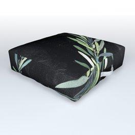 Eucalyptus leaves on chalkboard Outdoor Floor Cushion