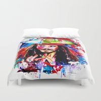 jack sparrow Duvet Covers featuring Captain Jack Sparrow by isabelsalvadorvisualarts