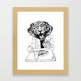 tiger eating cookie Framed Art Print