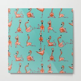 Flamingo Yoga Metal Print