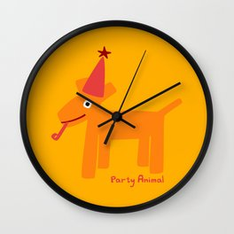 Party Animal-Orange Wall Clock