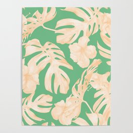 Tropical Palm Leaves Monstera and Hibiscus Jungle Green Coral Peach Poster