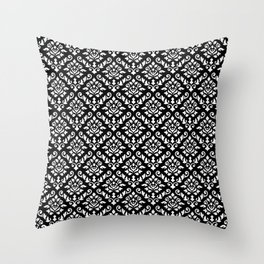 Damask Baroque Repeat Pattern White on Black Throw Pillow