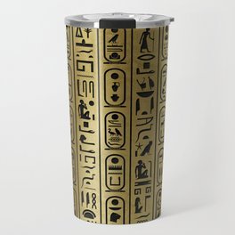 Black hieroglyphs pattern on Ancient Gold Travel Mug