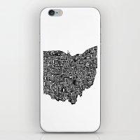 ohio iPhone & iPod Skins featuring Typographic Ohio by CAPow!