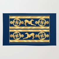 greyhound Area & Throw Rugs featuring STEAMPUNK GEARS AND GREYHOUND by Jane Walker