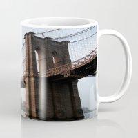 brooklyn bridge Mugs featuring Brooklyn Bridge by Leslie Philipp