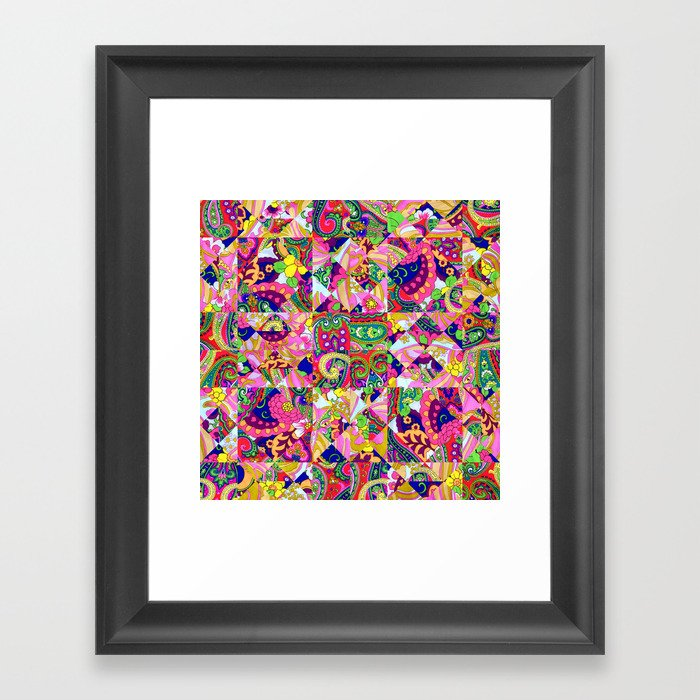 60s Crown Of Thorns Quilt Framed Art Print By