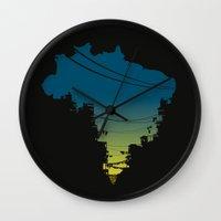 brazil Wall Clocks featuring Brazil by jenkydesign