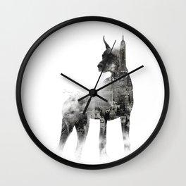 Doberman Pinscher NYC Skyline Wall Clock