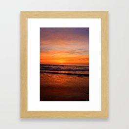 Scripps Pier - Orange Sunset Framed Art Print