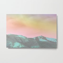 teal hills raibow skies Metal Print