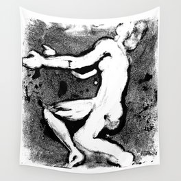 Leaning Figure Monotype - Black Wall Tapestry