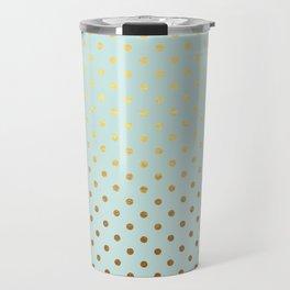 Gold polka dots on aqua background - Luxury turquoise pattern Travel Mug