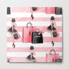 Fashion girl shopping Metal Print
