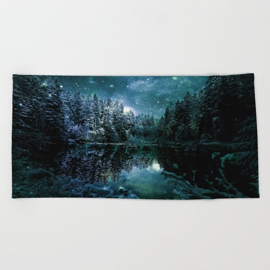Winter Forest Teal Beach Towel