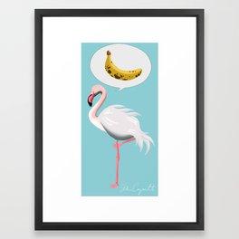 flamingo and banana Framed Art Print