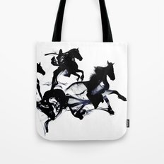 Black horses Tote Bag