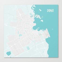 Minimalist Modern Map of Doha, Qatar 4A Canvas Print