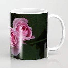 Pink and Dark Green Roses on Black Coffee Mug