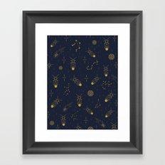 Golden Fireflies Constellations Framed Art Print