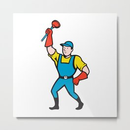 Super Plumber Wielding Plunger Cartoon Metal Print