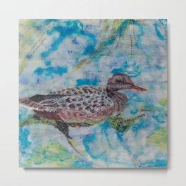Duck, Encaustic painting by Karen Chapman Metal Print