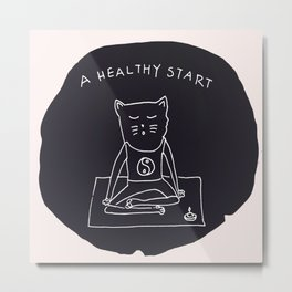 Relax Cat, A Healthy Start, Meditation Metal Print