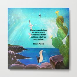When We Are In Love Inspirational Quote With Blue Ocean Flying Birds Painting Metal Print