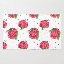 Modern red green watercolor roses floral polka dots Rug