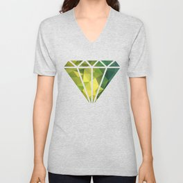 Abstract of triangles polygon in green yellow lime colors Unisex V-Neck