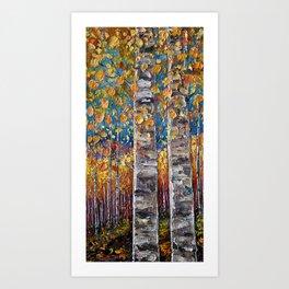 Autumn Aspen Colors Palette Knife Art Print