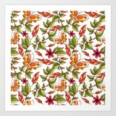 Butterflies on the leaves Art Print
