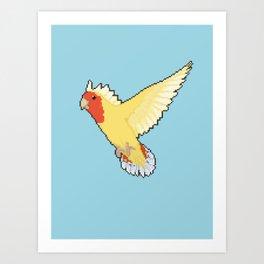 Pixel / 8-bit Parrot: Peach-faced Lovebird Art Print