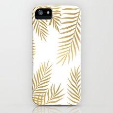 Gold palm leaves Slim Case iPhone SE