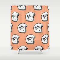 moto Shower Curtains featuring Make Fun Moto Helmet by Mick Bailey