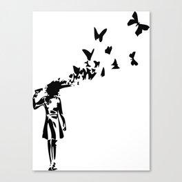 Banksy - Girl Shooting Her Head With Butterfly Design, Streetart Street Art, Grafitti, Artwork, Desi Canvas Print