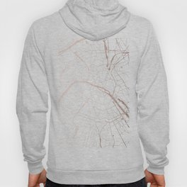 Paris France Minimal Street Map - Rose Gold Glitter Hoody