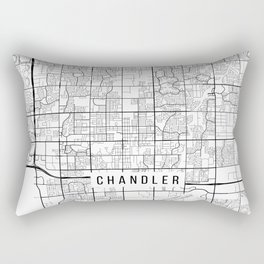 Chandler Map, Arizona USA - Black & White Portrait Rectangular Pillow