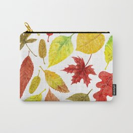 Autumn leaves watercolor white Carry-All Pouch