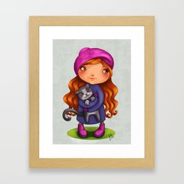 Little girl with kitty Framed Art Print