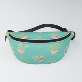 Cactus and Succulent Illustration in Sea Green Fanny Pack