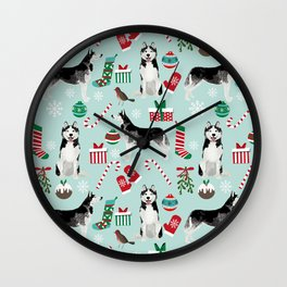 Siberian Husky christmas festive holiday gifts for husky owners by pet friendly Wall Clock